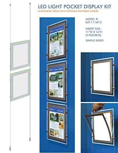 Suspended LED Light Pocket for Real Estate Window Displays - Cable Suspended Poster Display Kit with 2 (two) LED Light Pockets - Single Sided (Insert Size 11