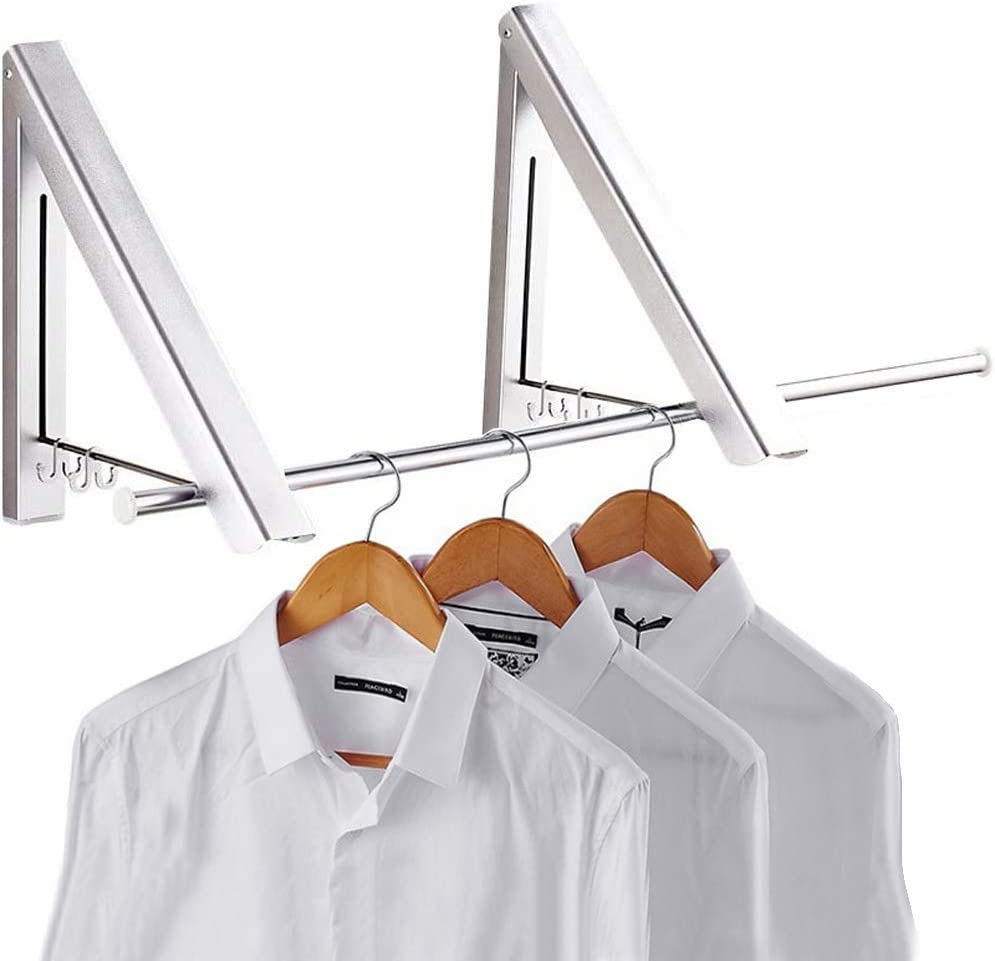 Pagetoc Aluminum Folding Hanger,Silver Wall Mounted Retractable Clothes Hanger Laundry Drying Rack with four Hooks for Room Attic Garage Indoor and Outdoor(2 Racks)