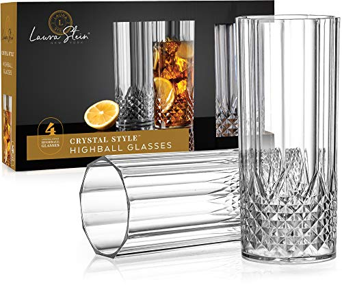 Laura Stein 4 Pack Plastic Crystal Style Highball Glasses, Disposable, Heavy Weight, Elegant Round...