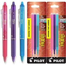 Pilot FriXion Clicker Retractable Erasable Gel Ink Pens, Fine Point, 0.7mm, Assorted Fashion Ink, Pack of 3 with Bonus 2 Packs of Refills