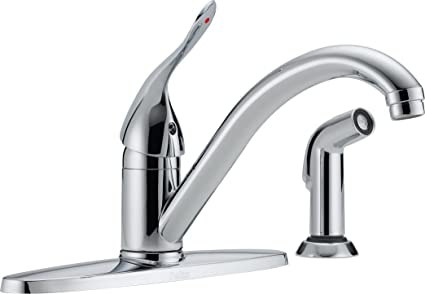 Delta Commercial 400lf Hdf Classic Single Handle Centerset Kitchen Faucet With Spray Chrome