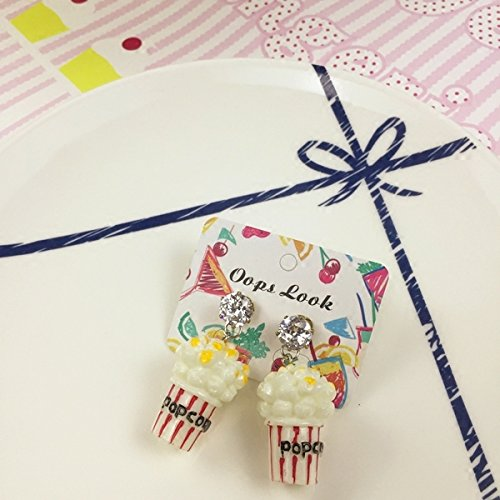 (usongs was gel can exclusive custom original childlike cute diamond earring earrings popcorn food)