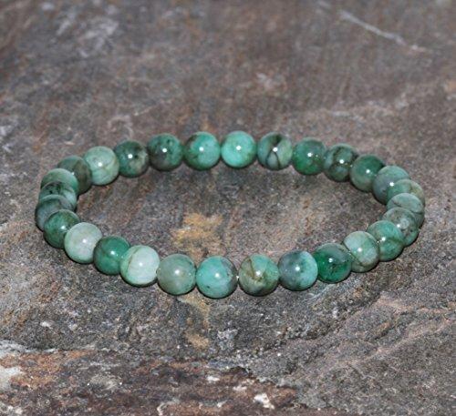 Emerald Bracelet 6mm Natural Emerald with Black Inclusion Beaded Gemstone Bracelet Love and Contentment Bracelet Jewelry Gift (Emerald Jasper Bracelet)