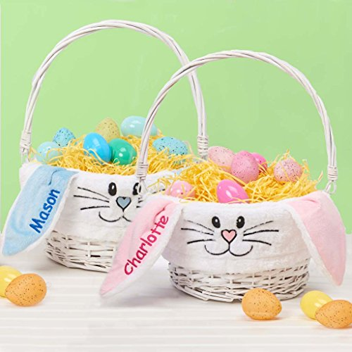 Personalized Bunny Face Easter Basket (Pink)