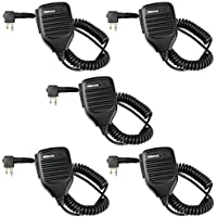 Retevis 2 Pin Two Way Radio Speaker Mic for Motorola CP200/GP68/GP88/GP300/2000/CT150/P040/Pro1150 HYT 2 Way Radio ( 5 Pack)