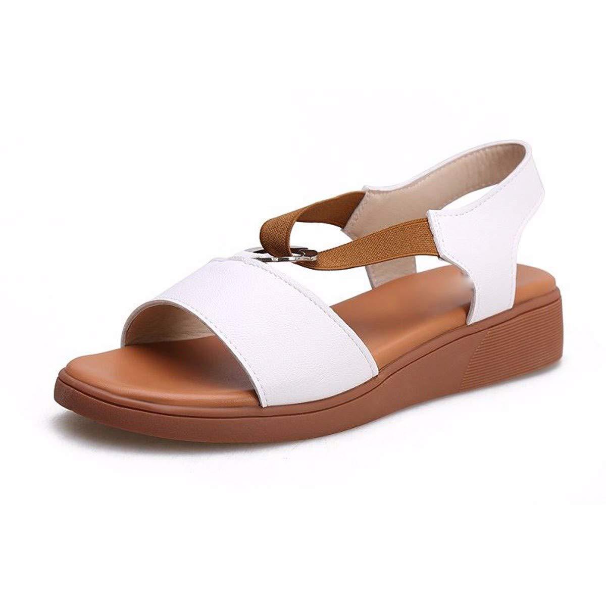 KPHY-Sommer Damenschuhe Weichen Boden Flachen Boden Wild Studenten Damen - Sandaleen 38 Weiße