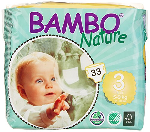 Bambo Nature Premium Baby Diapers, Midi, Size 3, 33 Count (Pack of 6) (One Month Supply)