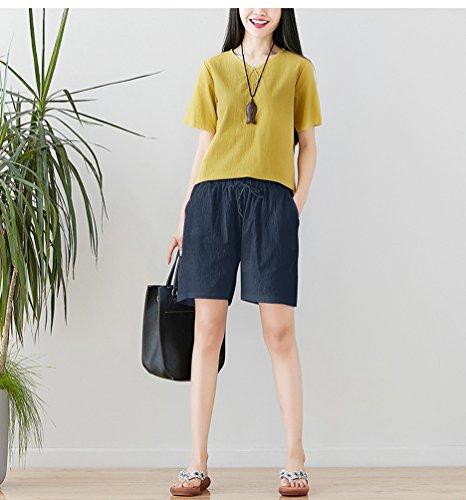 Unita Donna Comfort Size per Tinta Jitong Corti Casuale Marina da Pantaloni Plus Spiaggia Lino Pantaloncini zSIwqS18x
