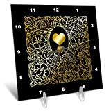 3dRose Russ Billington Designs - Image of Ornate Gold Effect Heart and Frame- not foil Embossed - 6x6 Desk Clock (dc_291560_1)