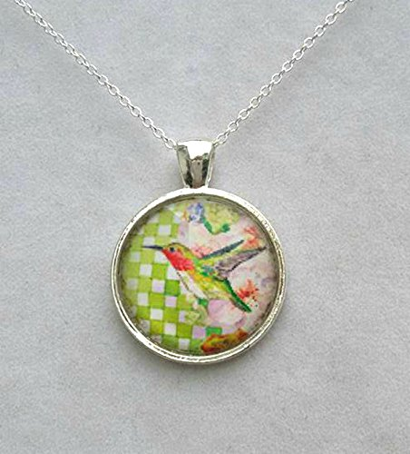Hummingbird Green Gingham Pendant Necklace with Chain