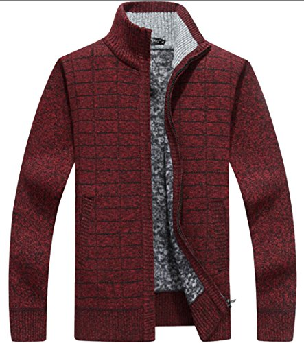 5 Zip Cardigan amp;S M Men's Pockets Sweaters With amp;W Slim Knit Full Thick aUx7Owq