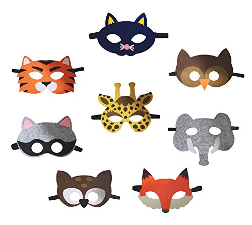 Petitebella 8 Packs Animal Eyewear Mask Dress Up Costume for Children 2+ (One Size) -
