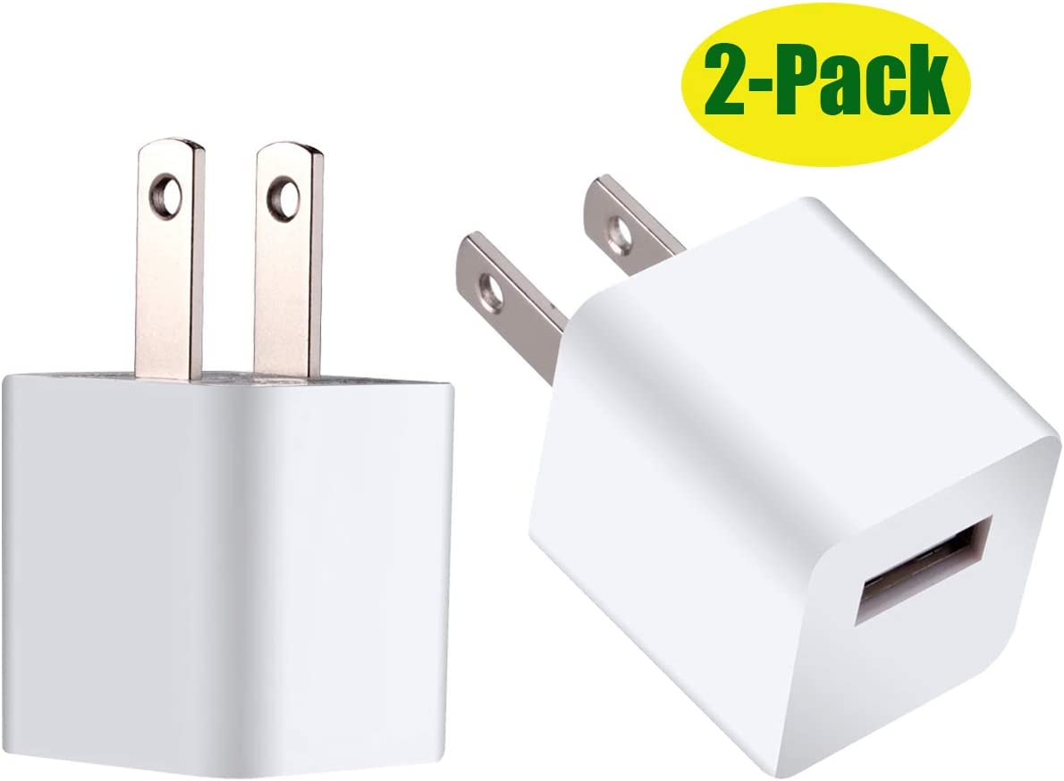 ZLONXUN Wall Charger Cube Power Adapter Plug USB Charging Block for All iPhones,iPod Touch 5/6/7 (2 Pack)