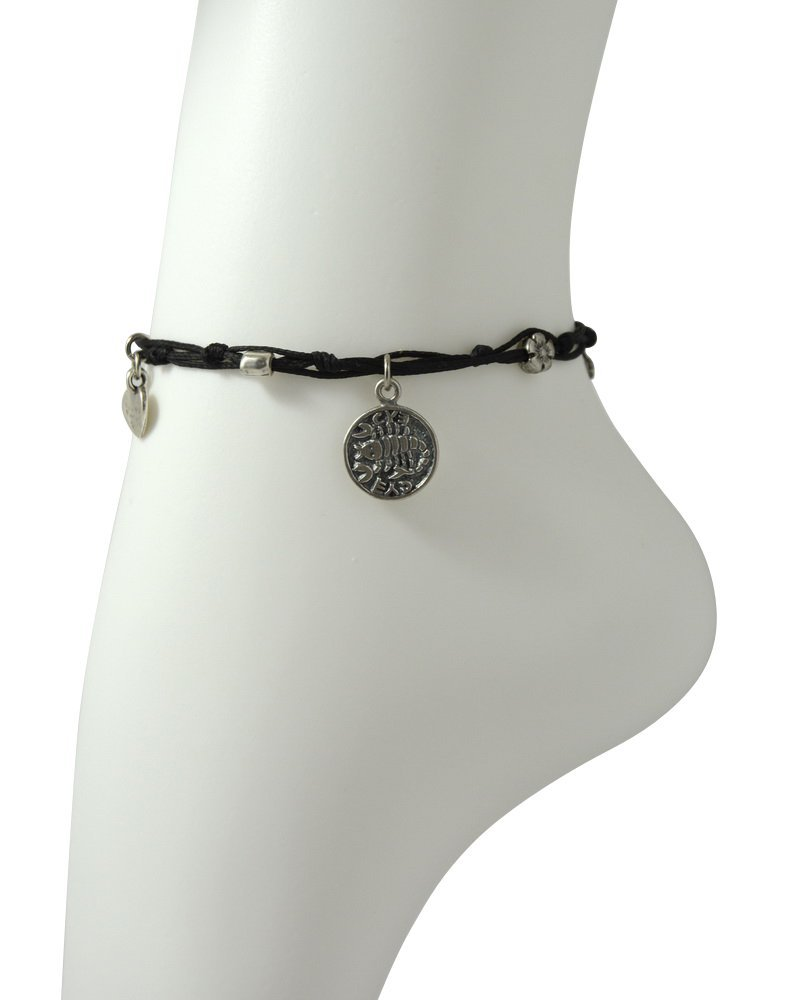 MIZZE Made for Luck Sterling Silver Recovery Coin Amulet Charm Ankle Bracelet on Black Ties Cord - WOMEN