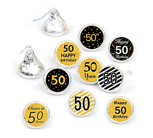 50th Birthday Party Favor Labels-Gold and Black (378 Stickers) ()