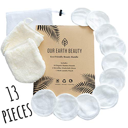 Reusable Makeup Remover Pads and Microfiber Face Cleansing Gloves | 12 Pack with Laundry Bag | 100% Organic Bamboo Cotton | Eco-friendly | Waste Free | Luxury