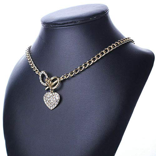 - Madame Jewelry Woman Bling Rhinestone Gold Chain Toggle Clasp Heart Love Pendant Short Necklace