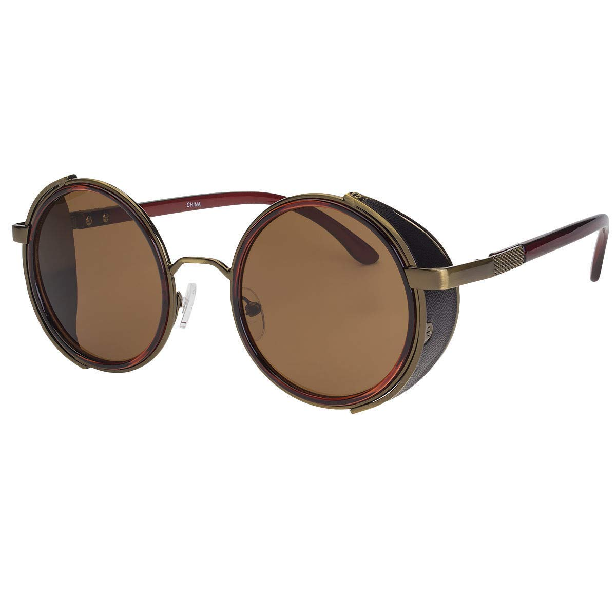 15ff0523a526 Amazon.com  Vintage Retro Mirror Round Sun Glasses Goggles Steampunk Punk  Sunglasses- Sold by Ed Em! (Light Brown)  Clothing