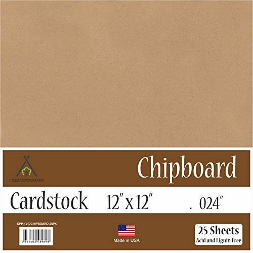 "Chipboard - 12 x 12 inch - .024"" Thick - 25 Sheets"