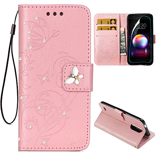 LG K30 Wallet Case,LG K10 2018 Case with HD Screen Protector,PU Leather Flip Butterfly Flower Case with Credit Card Holder and Kickstand Phone Cover for LG K10 Alpha/LG Premier Pro LTE,Pink/Bling