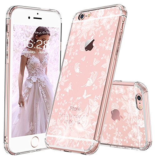 (MOSNOVO iPhone 6S Case/iPhone 6 Slim Case, White Roses Garden Floral Printed Flower Clear Design Plastic Back Hard Case with Soft TPU Gel Bumper Protective Case Cover for Apple iPhone 6/iPhone 6S)