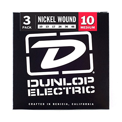 Nickel Wound Medium Electric Guitar (Dunlop 3PDEN1046 Nickel Wound Electric Guitar Strings, Medium, .010–.046, 3 Sets/Box)