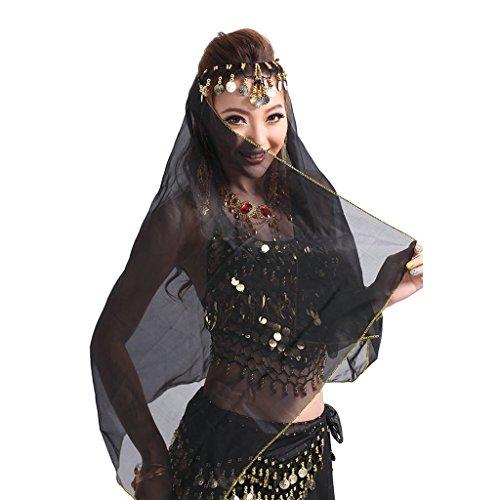 Pilot-trade Women Headband Belly Dance Face Veil Dancing Headpiece Chiffon Coins Head Scarf Shawl Black
