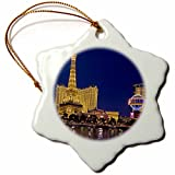 3dRose Nevada, Las Vegas. Bellagio Hotel Casino - Us29 Bja0012 - Jaynes Gallery - Snowflake Ornament, Porcelain, 3-Inch (orn_92187_1)