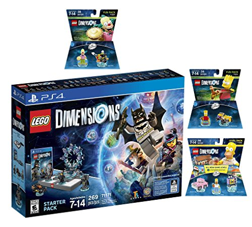 Lego Dimensions Starter Pack + The Simpsons Homer Level Pack + Bart Simpson + Krusty Fun Packs Playstation 4 ()