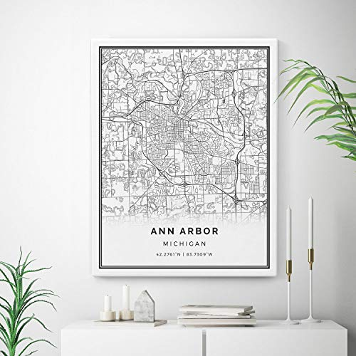 Arbor Canvas - Squareious Ann Arbor Map Canvas Print, City Maps Wall Art, Michigan Gift Minimalistic Artwork, Canvas Bathroom, Canvas Bedroom | M228 8x10