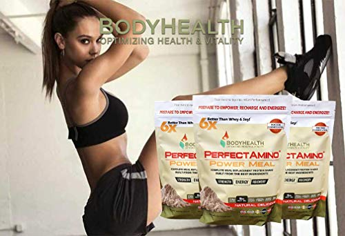 BodyHealth PerfectAmino Power Meal Replacement Shake 100% Protein Powder Drink with MCT Oil, Weight Loss & Muscle Health,