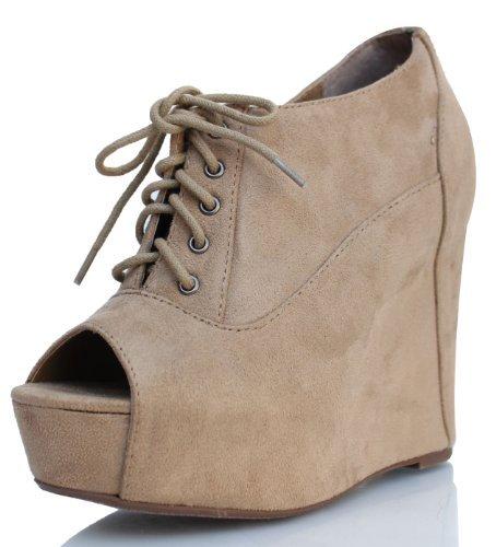 Brown Faux Suede Peep Toe lace Up Hidden Platform Wedge Ankle Bootie FIA 65 (Brown 7 M US Women)