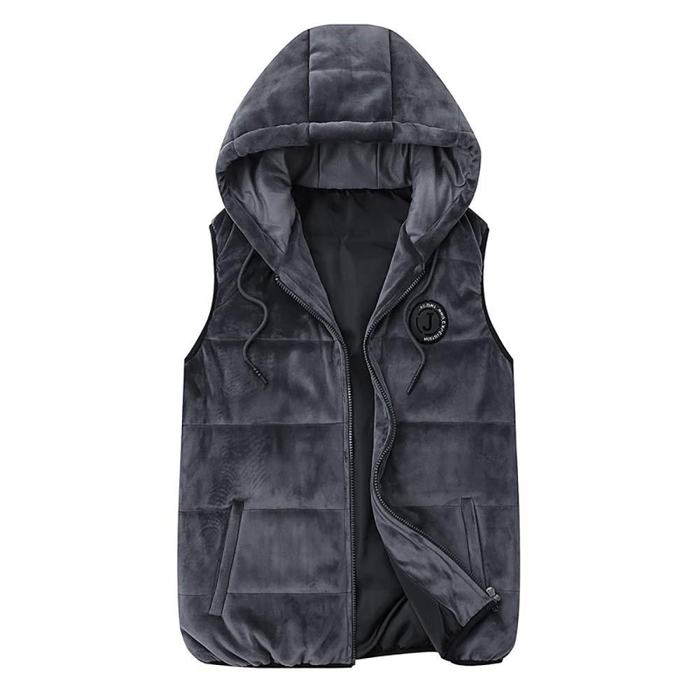 BESHU Warme Weste für Herren, Herren-Herbst- und Wintergold-Samtjunge für Herren mit Kapuze aus Fleece-Baumwolle