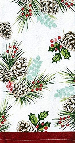 (Kay Dee Designs Winter Evergreen Branches and Pinecones Terry Dish Towel)