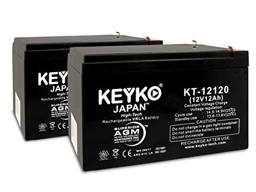 GS Portalac PE12V12 12V 12Ah SLA Sealed Lead Acid AGM Rechargeable Replacement Battery Genuine KEYKO (W/F2 Terminal) - 2 Pack
