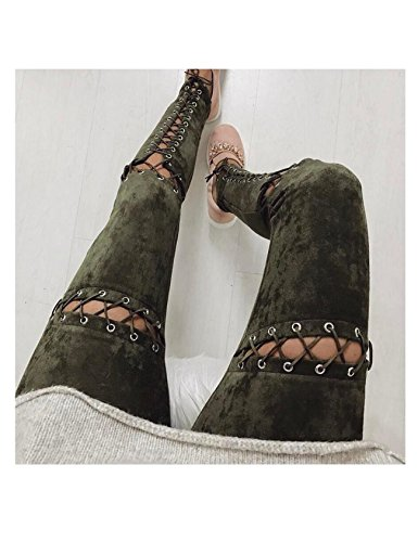 style dchir Jean Jueshanzj Femme pantalons Gris bandage tqwnF41