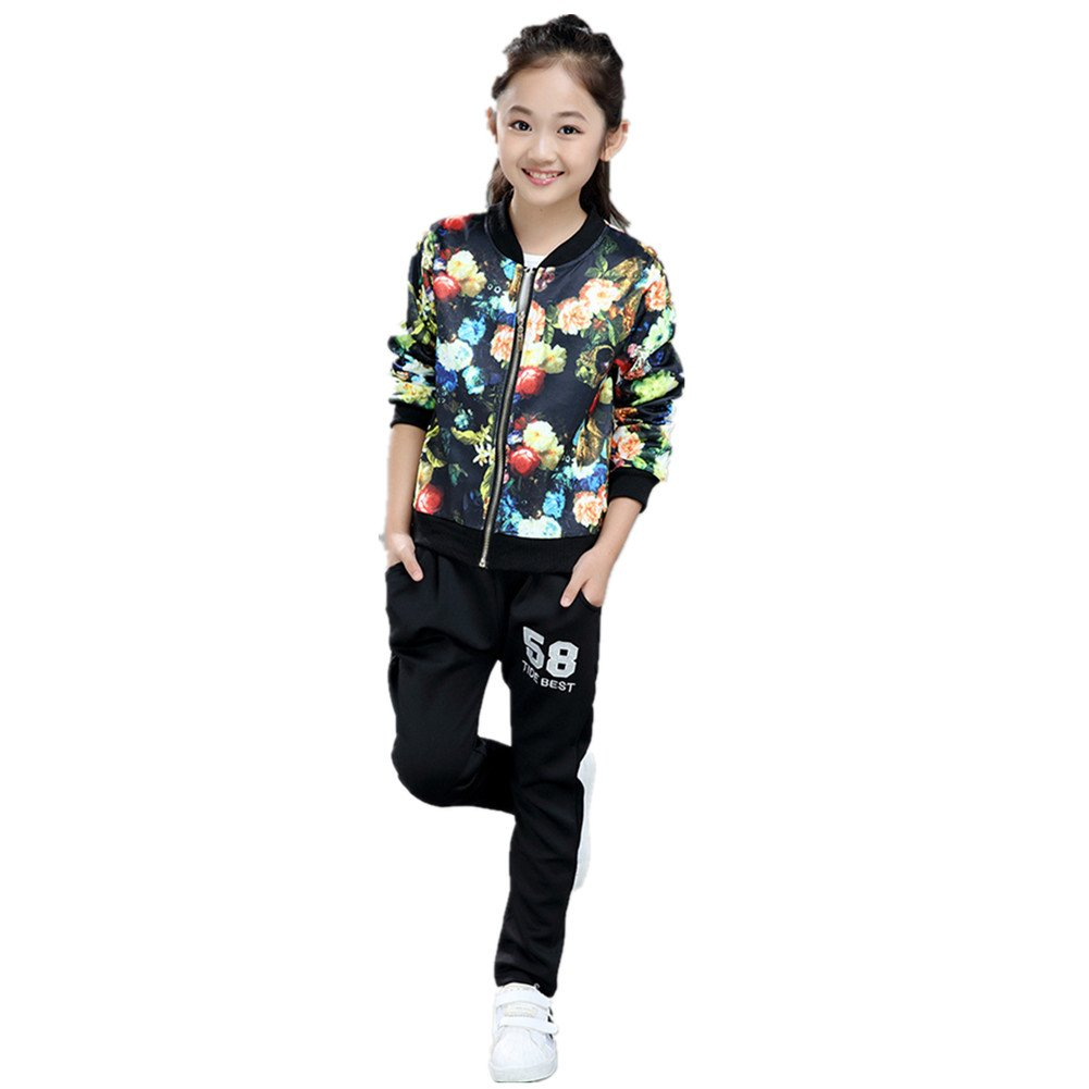 FTSUCQ Boys/Girls Floral Printed Sports Tracksuits Shirt Top + Pants,140 by FTSUCQ