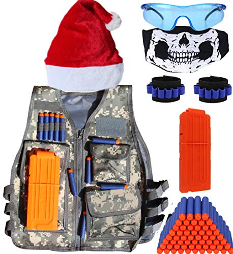 Kids Tactical Vest Kit Compatible with Nerf Guns N-Strike Elite Series, with 40 Pcs Refill Darts, 1Reload Clips, 1 Face Tube Masks, 2 Hand Wrist Bands and 1 Protective Glasses.nerf vest Christmas Hat