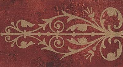 Beige Wrought Iron Red Damask Wallpaper Border Retro Design, Roll 15' x 5.25''