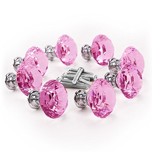 pink crystal knobs for dresser - 7