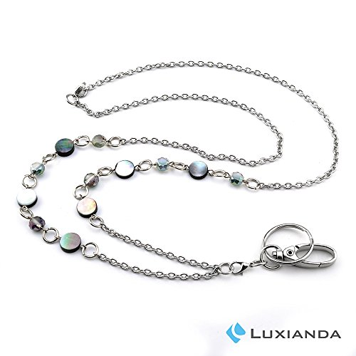 (LUXIANDA Beautiful ID Necklaces ID Balled Beads Lanyards for Keys ID Badge Holder Stainless Steel Chain)