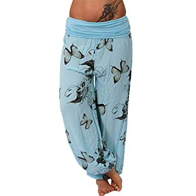 a5620f10cda GreatestPAK Newest! Women s Loose Pocket Button Harem Pants Casual Print  Pants Wide Leg