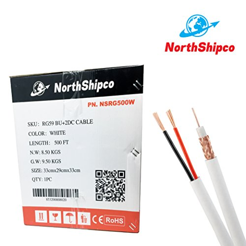 Northshipco 500ft. RG59 UL 2DC 18/2 CCS white 0.81mm Bondfoil, Easy pull box Siamese CCTV Coaxial Cable (20 AWG)