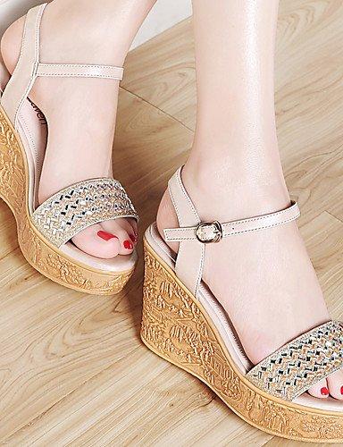 LFNLYX Zapatos de mujer-Plataforma-Punta Abierta / Creepers-Sandalias-Oficina y Trabajo / Vestido / Casual / Fiesta y Noche-Sintético-Plata / Oro Silver