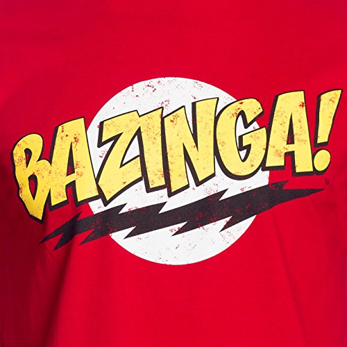 The Big Bang Theory - BAZINGA! Herren T-Shirt - Rot - Größe Large