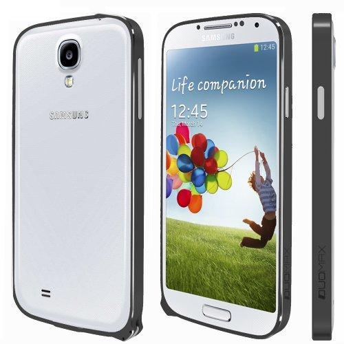 Spots8® for Samsung Galaxy S4 S IV I9500 Ultra Slim 0.7mm Luxury Design Aluminium Metal Hard Bumper Frame Blade Case Cover With Snap-to-Lock Design - Black