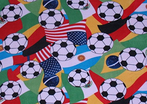 International Soccer Ball Fleece Throw Blanket by Laura's Unique Embroidery