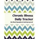 Chronic Illness Tracker: Six Week Symptom & Activity Journal - Color Interior - Green Blue Chevron