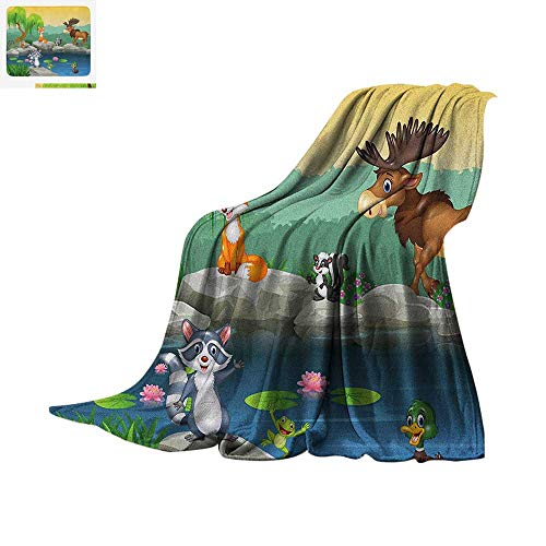 Cartoon Lightweight Blanket Funny Mascots Animals by The Lake Moose Fox Squirrel Raccoon Kids Nursery Theme Velvet Plush Throw Blanket 60