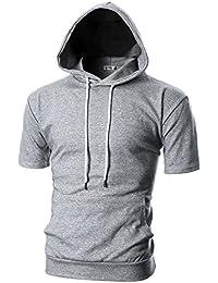 Mens Slim Fit Short Sleeve Lightweight Hoodie with Kanga Pocket